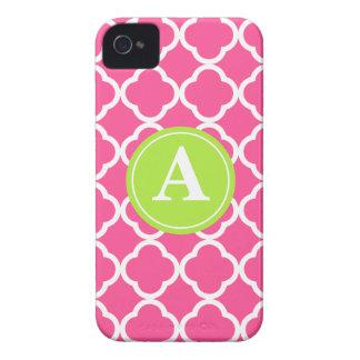 Hot Pink Quatrefoil Lime Monogram iPhone 4 Case