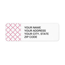Hot Pink Quatrefoil Pattern Label