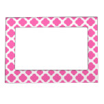 Hot Pink Quatrefoil Pattern Photo Frame Magnets