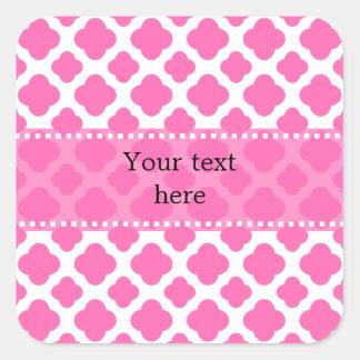 Hot Pink Quatrefoil Pattern Square Sticker