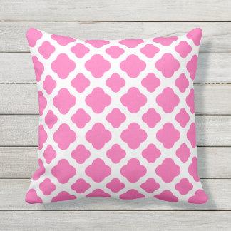 Hot Pink Quatrefoil Pattern Throw Pillow
