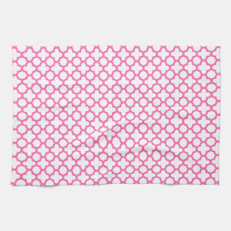 Hot Pink Quatrefoil Pattern Towel