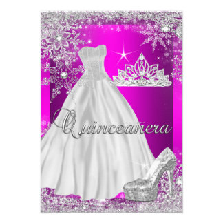 Hot Pink Quinceanera 15th Birthday Party Invite