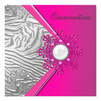 Hot Pink Quinceanera 15th Birthday Party Custom Invites