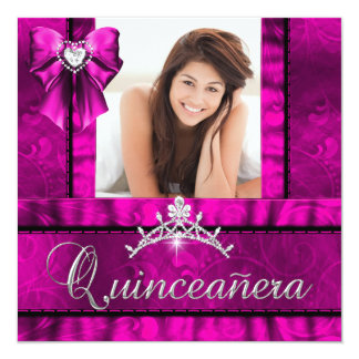 Hot Pink Quinceanera 15th Birthday Party Photo Personalized Invite