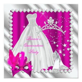 Hot Pink Quinceanera 15th Masquerade Party Card