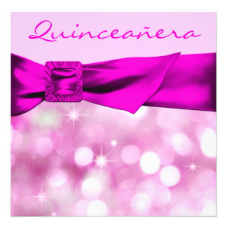 Hot Pink Quinceanera Girls 15th Birthday Party Invitations
