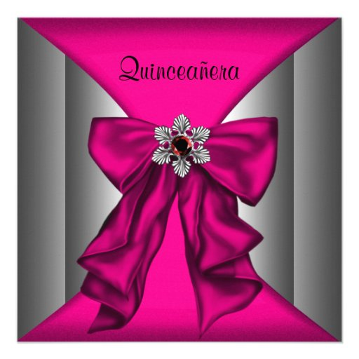 Hot Pink Quinceanera Hot Pink Birthday Party Personalized Invites