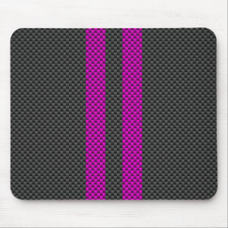 Hot Pink Racing Stripes in Carbon Fiber Style Mouse Pad