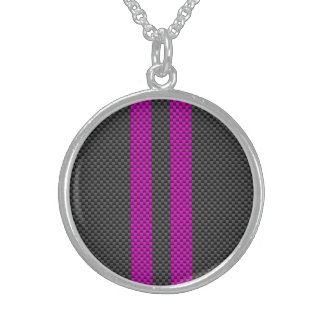 Hot Pink Racing Stripes in Carbon Fiber Style Sterling Silver Necklace