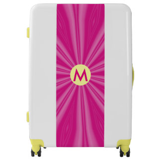 Hot Pink Radiating Streaks with Initial Luggage