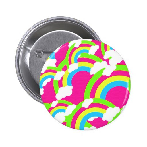 Hot Pink Rainbow Pattern Buttons