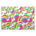 Hot Pink Rainbow Pattern Cloth Place Mat