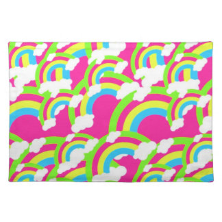 Hot Pink Rainbow Pattern Cloth Placemat