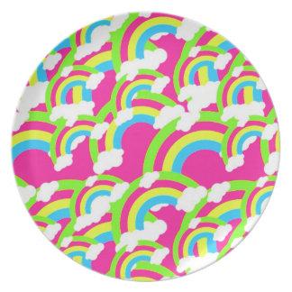 Hot Pink Rainbow Pattern Melamine Plate