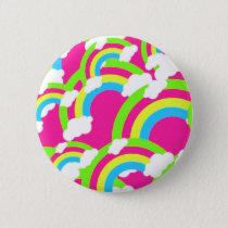 Hot Pink Rainbow Pattern Pinback Button