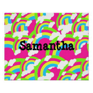 Hot Pink Rainbow Pattern Poster