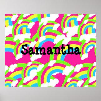 Hot Pink Rainbow Pattern Print