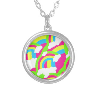 Hot Pink Rainbow Pattern Round Pendant Necklace