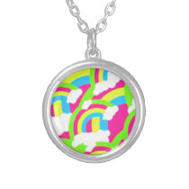 Hot Pink Rainbow Pattern Silver Plated Necklace