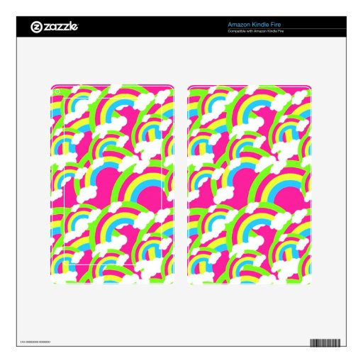 Hot Pink Rainbow Pattern Skins For Kindle Fire