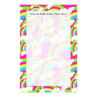 Hot Pink Rainbow Pattern Stationery