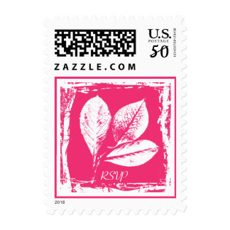 Hot Pink Raspberry Leaves Woodcut RSVP Etching Postage