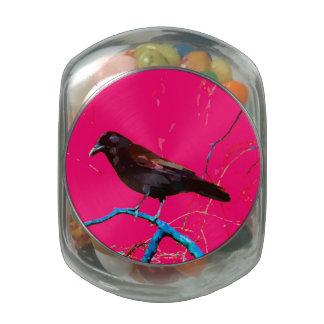 Hot Pink Raven Crow Glass Candy Jar