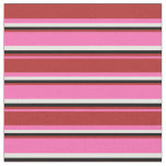 [ Thumbnail: Hot Pink, Red, Black & White Colored Lines Fabric ]