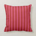 [ Thumbnail: Hot Pink & Red Colored Lines Throw Pillow ]
