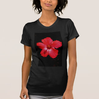Hot Pink Red Hibiscus flower on Black Tee Shirt