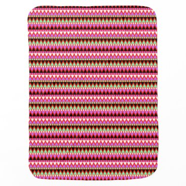 Aztec Themed Hot Pink Red Mint and Black Tribal Style Pattern Baby Blanket