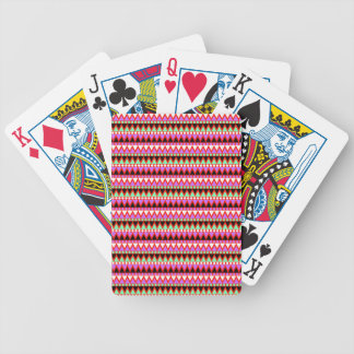Hot Pink Red Mint and Black Tribal Style Pattern Bicycle Playing Cards