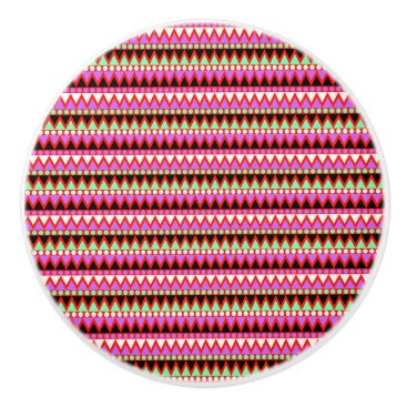 Aztec Themed Hot Pink Red Mint and Black Tribal Style Pattern Ceramic Knob