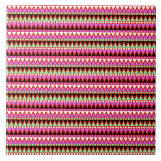 Hot Pink Red Mint and Black Tribal Style Pattern Ceramic Tile
