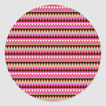 Aztec Themed Hot Pink Red Mint and Black Tribal Style Pattern Classic Round Sticker