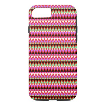 Aztec Themed Hot Pink Red Mint and Black Tribal Style Pattern iPhone 7 Case