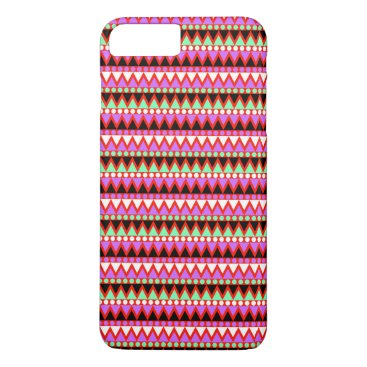 Aztec Themed Hot Pink Red Mint and Black Tribal Style Pattern iPhone 7 Plus Case