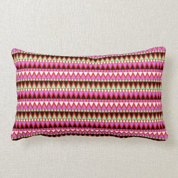 Aztec Themed Hot Pink Red Mint and Black Tribal Style Pattern Lumbar Pillow