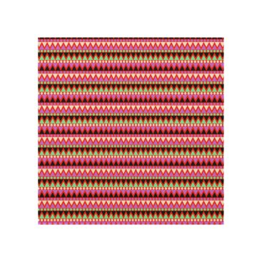 Aztec Themed Hot Pink Red Mint and Black Tribal Style Pattern Wood Wall Art
