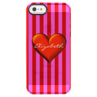 Hot Pink Red Stripe Red Metallic Heart Monogram Clear iPhone SE/5/5s Case