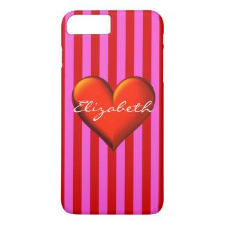Hot Pink Red Stripe Red Metallic Heart Monogram iPhone 8 Plus/7 Plus Case