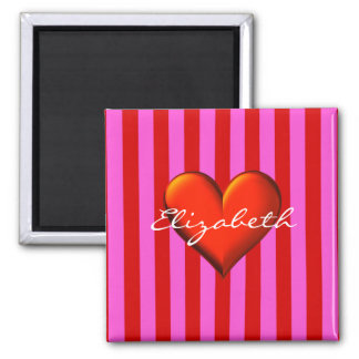 Hot Pink, Red Stripes, Red Metallic Heart Monogram Magnet