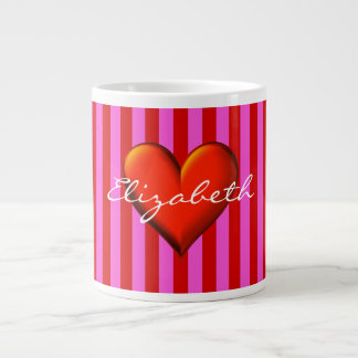 Hot Pink, Red Stripes, Red Metallic Heart Monogram 20 Oz Large Ceramic Coffee Mug