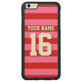 Hot Pink Red Team Jersey Preppy Stripe Carved Maple iPhone 6 Plus Bumper Case