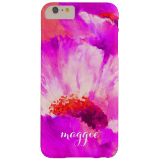 Hot Pink & Red Watercolor Flowers Personalized Barely There iPhone 6 Plus Case