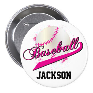 Hot Pink Retro Baseball Style 3 Inch Round Button