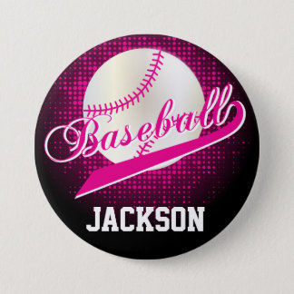 Hot Pink Retro Baseball Style Button