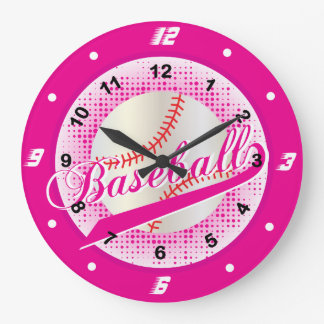 Hot Pink Retro Baseball Style Large Clock