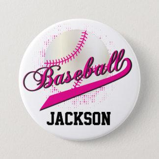 Hot Pink Retro Baseball Style Pinback Button
